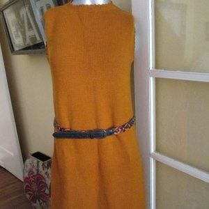 Vintage Mod Sweater Orange Dress Handknit Medium